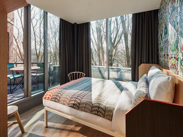 A room with views in the Generator Hotel in Amsterdam