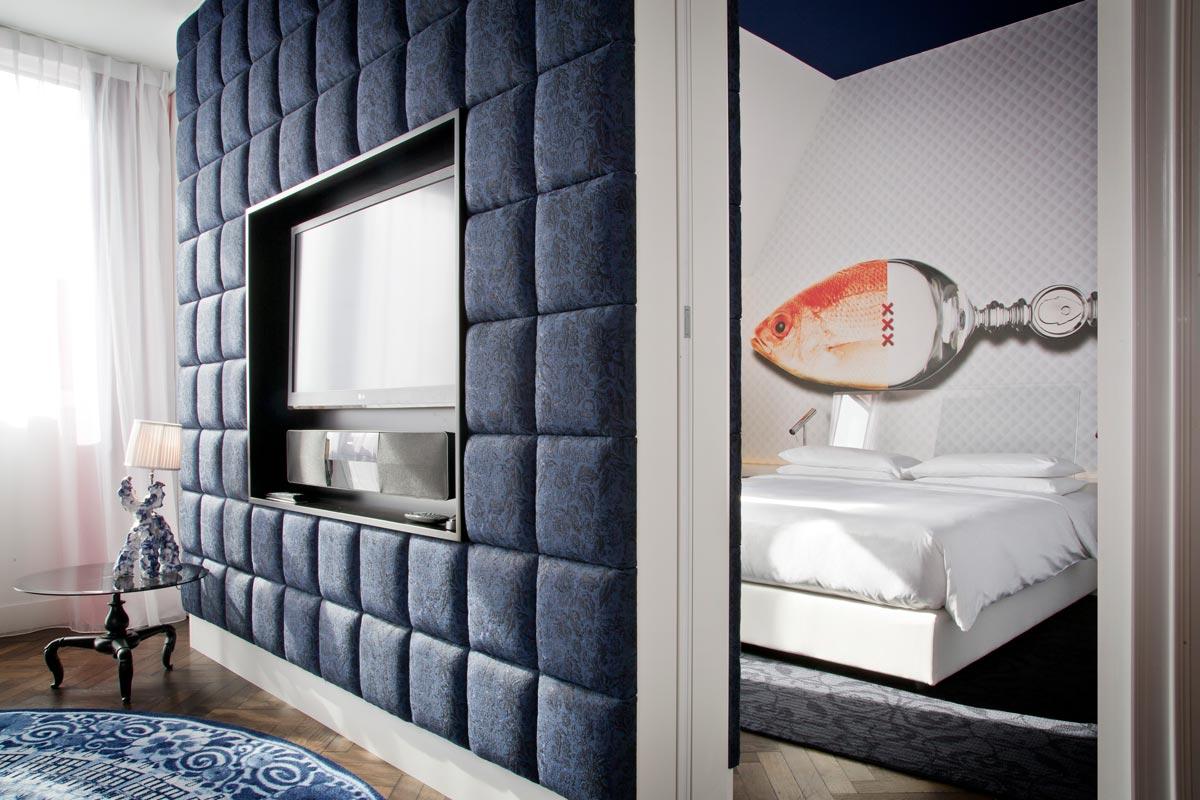 Dormitorio del hotel Andaz Ámsterdam Prinsengracht diseñado por Marcel Wanders.