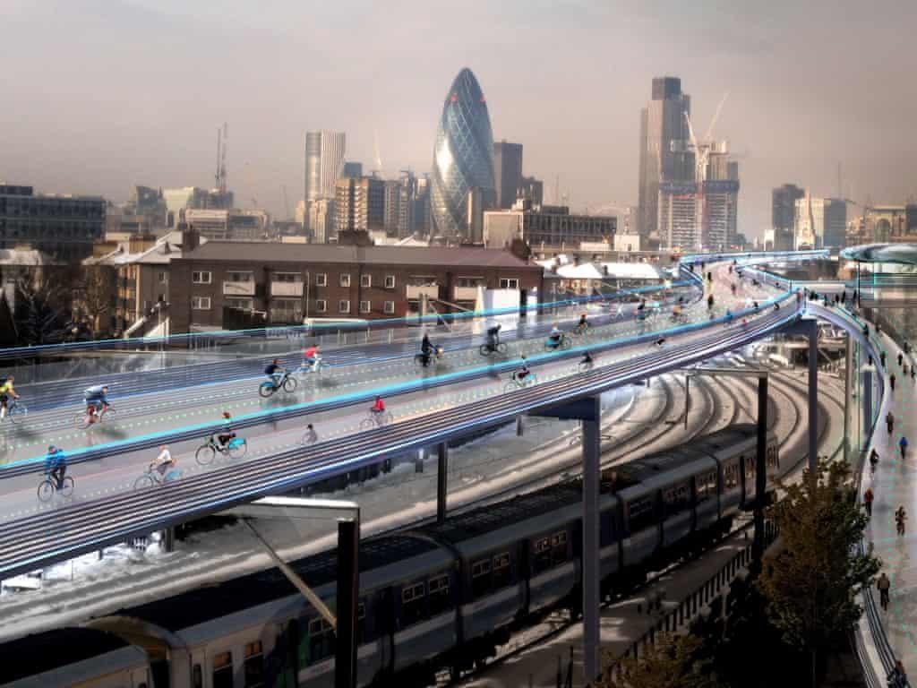 SkyCycle, proyecto en Londres diseñado por el estudio Foster + Partners. Imagen cedida por Foster + Partners.