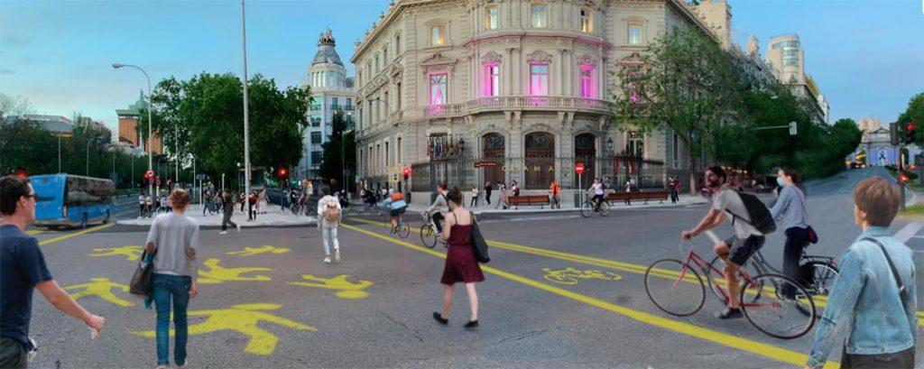 La Castellana para los peatones y las bicicletas, propuesta de Moneo Brock al Ayuntamiento de Madrid. Foto cortesía de Moneo Brock.