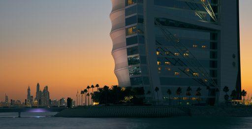 Atardecer desde el lujoso Hotel Burj Al Arab, uno de los más caros del mundo.